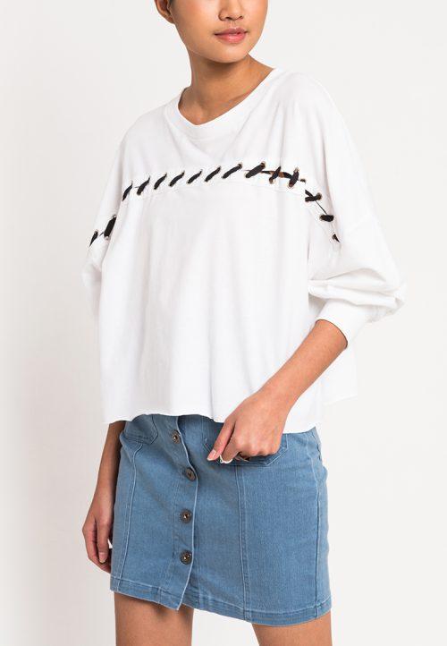 เสื้อจั๊มเปอร์ผู้หญิง Slot-Through Lace Up (ขาว)
