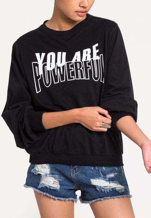 เสื้อจั๊มเปอร์ผู้หญิง Powerful Lady สีดำ