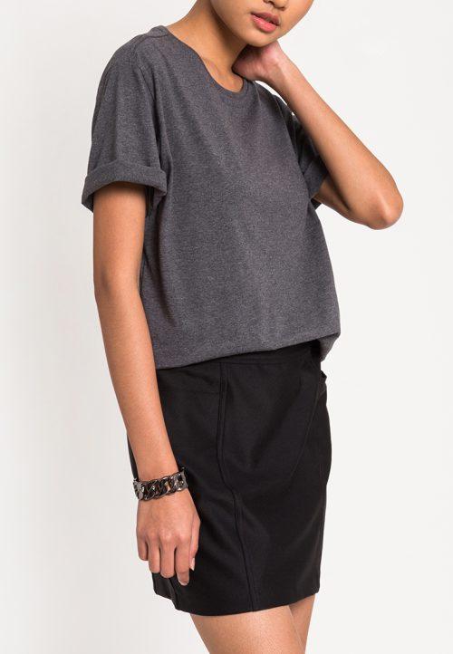 เสื้อยืดผู้หญิง Mono Hi-Low Curved Hem (เทาเข้ม)