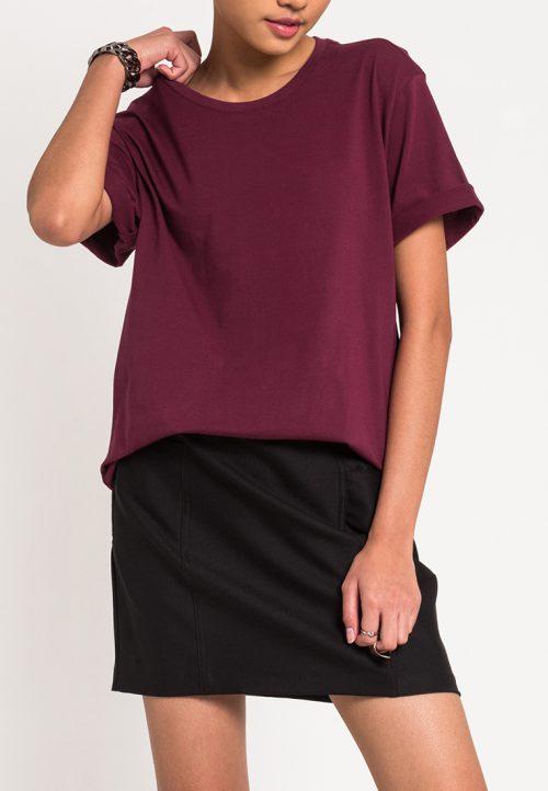 เสื้อยืดผู้หญิง Mono Hi-Low Curved Hem (แดง)