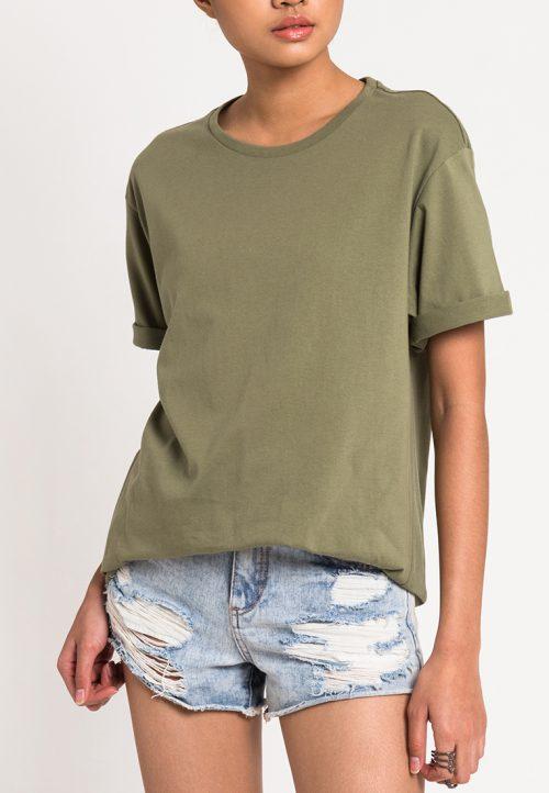 เสื้อยืดผู้หญิง Mono Hi-Low Curved Hem (เขียว)