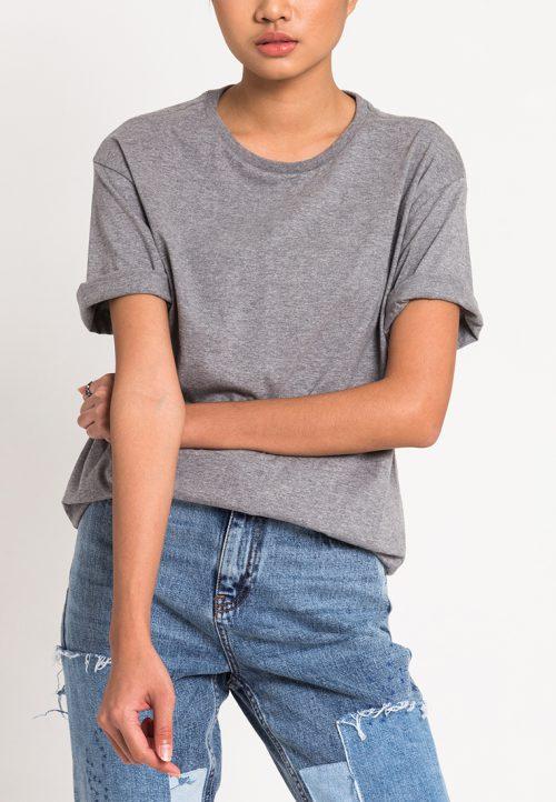 เสื้อยืดผู้หญิง Mono Hi-Low Curved Hem สีเทา