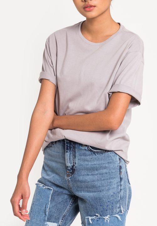 เสื้อยืดผู้หญิง Mono Hi-Low Curved Hem (เทาอมม่วง)