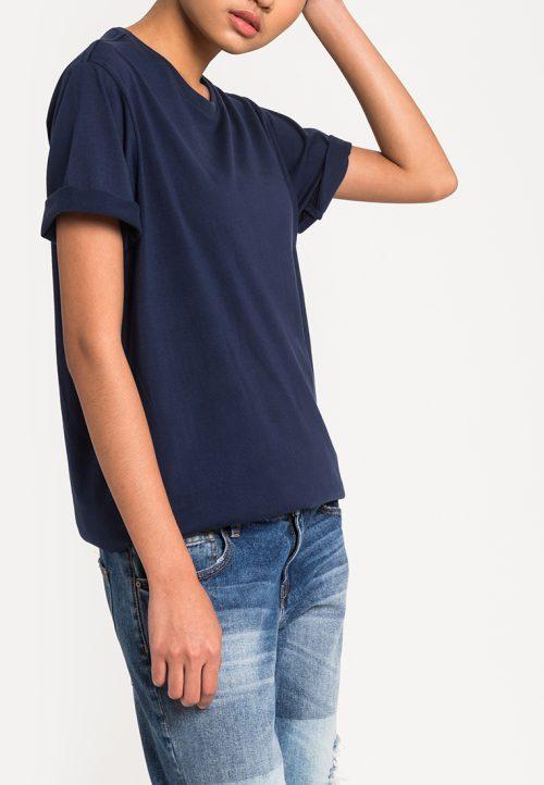 เสื้อยืดผู้หญิง Mono Hi-Low Curved Hem (กรมท่า)