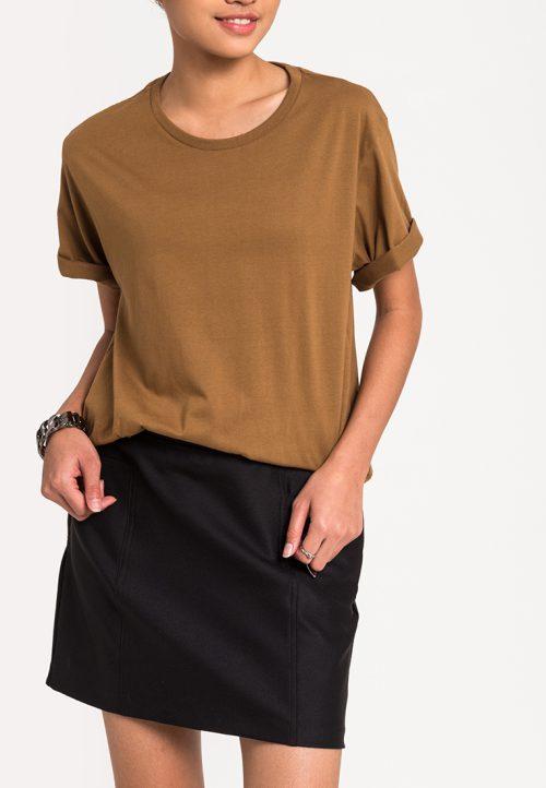 เสื้อยืดผู้หญิง Mono Hi-Low Curved Hem (น้ำตาล)