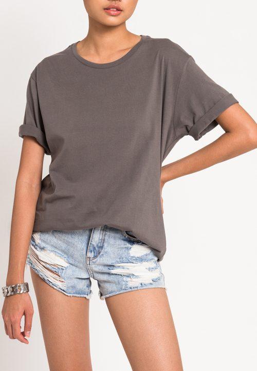 เสื้อยืดผู้หญิง Mono Hi-Low Curved Hem (ซีเมนท์)