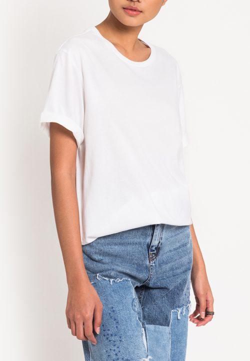 เสื้อยืดผู้หญิง Mono Hi-Low Curved Hem (ขาว)