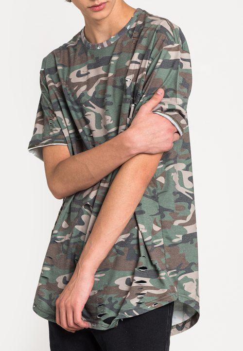 เสื้อยืดผู้ชาย Camouflage Print Ripped (ลายพราง)