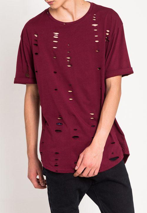 เสื้อยืดผู้ชาย Oversized Ripped Effect Tee (แดง)