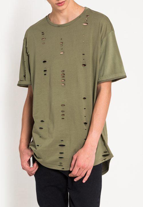 เสื้อยืดผู้ชาย Oversized Ripped Effect Tee (เขียว)