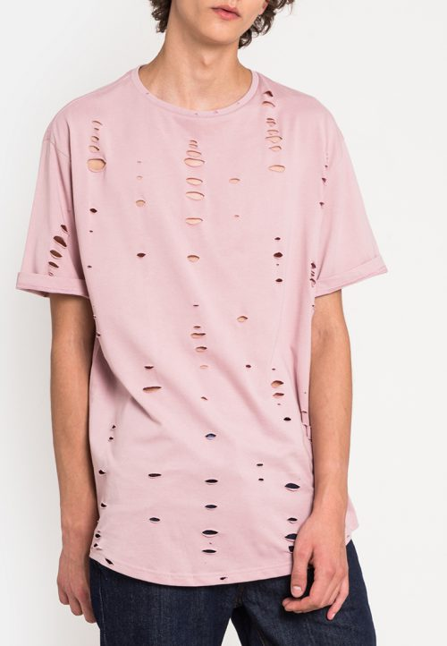 เสื้อยืดผู้ชาย Oversized Ripped Effect Tee (ชมพู)