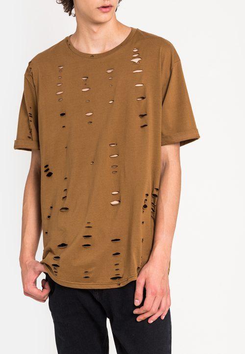 เสื้อยืดผู้ชาย Oversized Ripped Effect Tee (น้ำตาล)