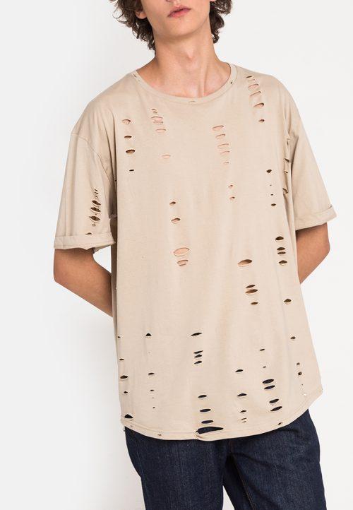 เสื้อยืดผู้ชาย Oversized Ripped Effect Tee (เบจ)