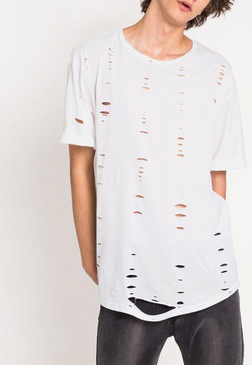 เสื้อยืดผู้ชาย Ripped Hi-Low สีขาว
