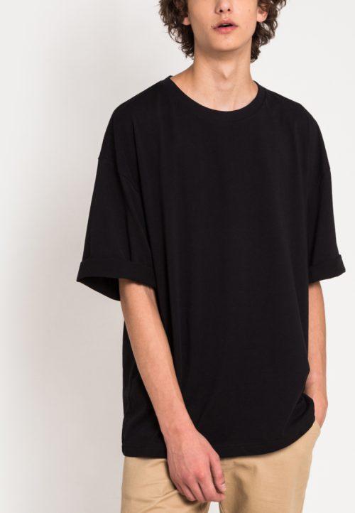 เสื้อยืดสุภาพบุรุษชาย Monochrome Oversized (ดำ)