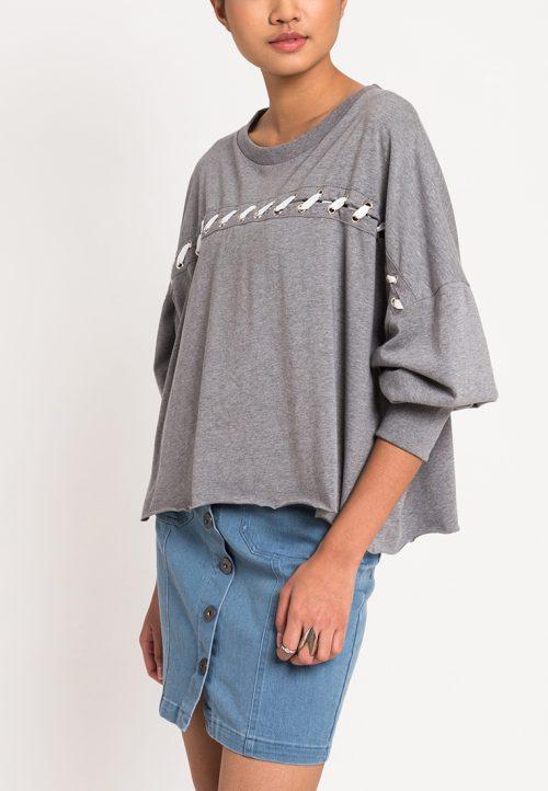 เสื้อจั๊มเปอร์ผู้หญิง Slot-Through Lace Up (เทา)