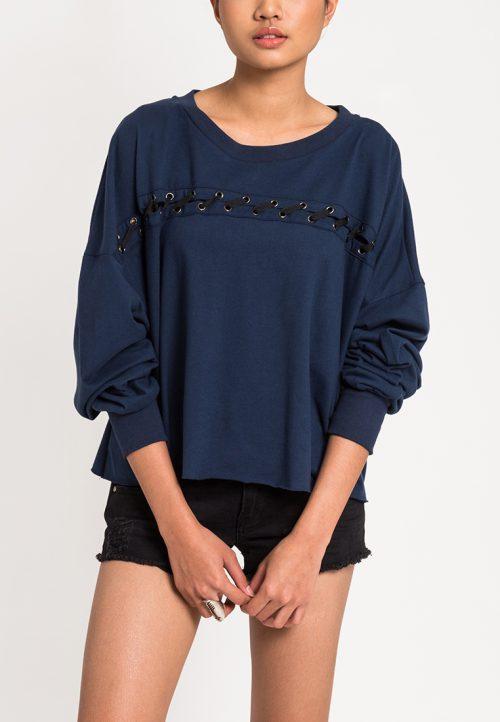 เสื้อจั๊มเปอร์ผู้หญิง Slot-Through Lace Up (น้ำเงินคาดดำ)