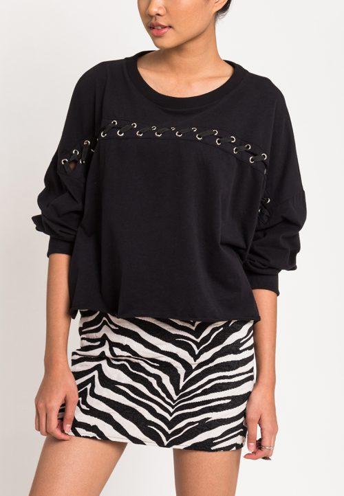 เสื้อจั๊มเปอร์ผู้หญิง Slot-Through Lace Up (สีดำ)