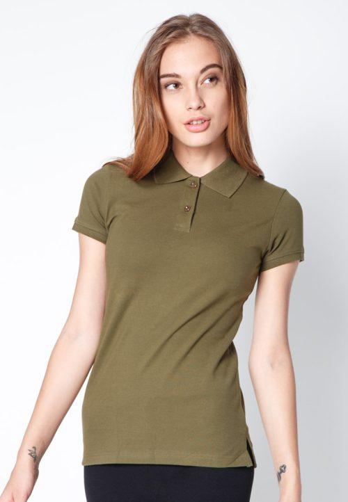 เสื้อ้โปโลผู้หญิงสีเขียวทหารเว็บเสื้อผ้าแฟชั่น MAXTEEN