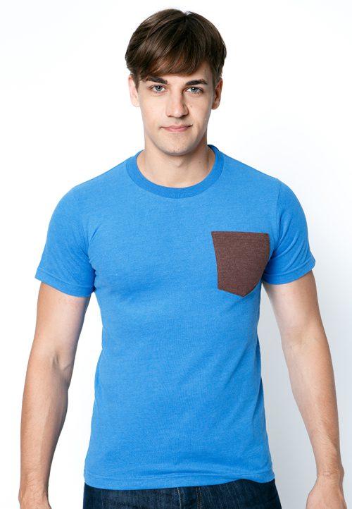 เสื้อยืดผู้ชายสีน้ำทะเลกระเป๋าช็อคโกแลต เว็บเสื้อผ้าแฟชั่น MAXTEEN