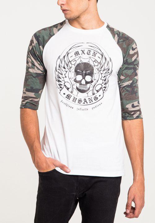 เสื้อยืดแขนยาวแขนลายพรางลำตัวสีขาวสกรีนนูนด้วยเทคนิคแฟลทคุณภาพสูง