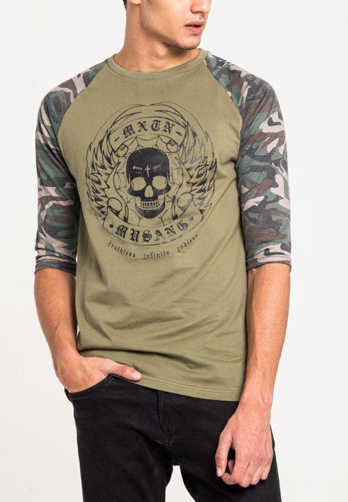 เสื้อยืดแขนยาวแขนลายพรางลำตัวสีเขียวทหารสกรีนนูนด้วยเทคนิคแฟลทคุณภาพสูง