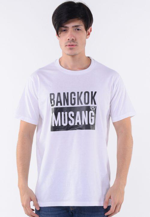 เสื้อยืดสีขาว bangkok musang สกรีนดำด้านลูกเล่นสะดุดตา