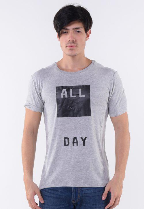 เสื้อยืด All day คอกลมปั้มคาร์บอนดำ