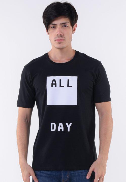 เสื้อยืด All day คอกลมปั้มขาวด้าน