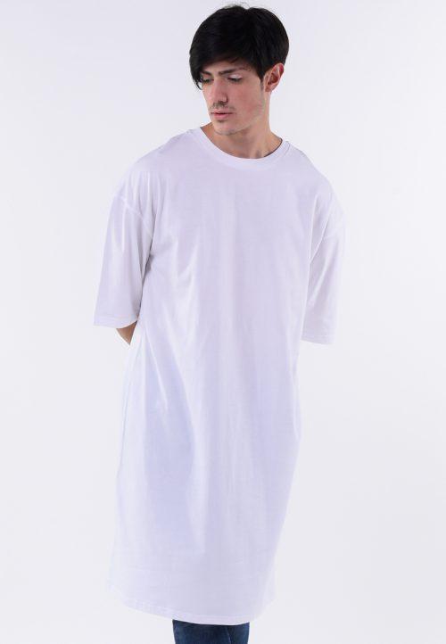 เสื้อผ้าแฟชั่นเสื้อยืดลองค์เดรสสีขาวสวมสบายใส่เที่ยวเป็นแฟชั่นหรือลำลองอยู่บ้านก็สบาย