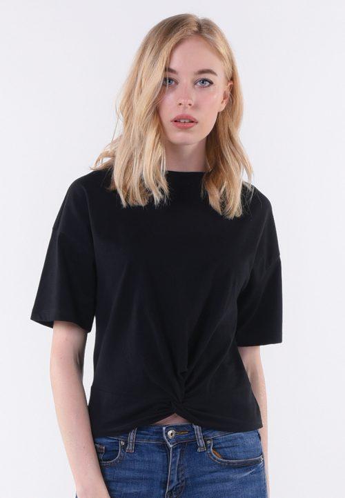 เสื้อยืด T-shirt แขนสั้นไขว้หน้า ความเซอร์บวกกับความซนเซ็กซี่เล็ก ๆ กับเสื้อที เชิต ดำล้วน ผูกปมหน้า ซ่าส์นิด ๆ