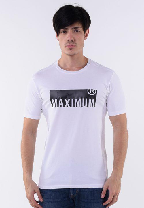 เสื้อยืด MAXIMUM R สกรีนยางเทคนิคผิวสัมผัส ชายเสื้อตรง สกรีนคำหมายบอกให้โลกรู้ว่าคุณ สุด ๆ เต็มที่กับชีวิตขนาดไหน