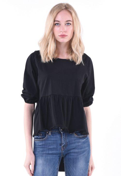 เสื้อเบลาส์แขนพอง คอกลม (round-neck) เล่นจีบที่เอว เพิ่มลูกเล่นชายเสื้อหลังยาวเล่นระดับ จะใส่ลำลองหรือใส่ออกงานไม่เป็นทางการก็เรียบร้อยเหมาะสม