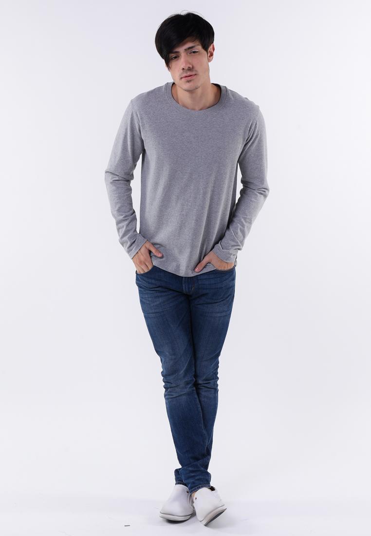 เสื้อยืดแขนยาวสีเทาอ่อนผ้านุ่มสวมสบาย