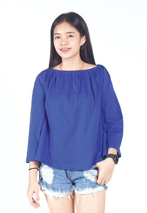 เสื้อเบลาส์ long-sleeves pleated scoop neck