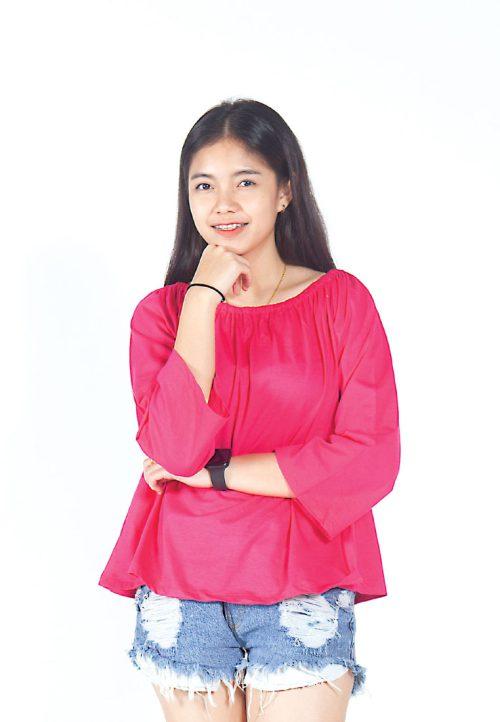 เสื้อเบลาส์ long-sleeves pleated scoop neck (ชมพู)
