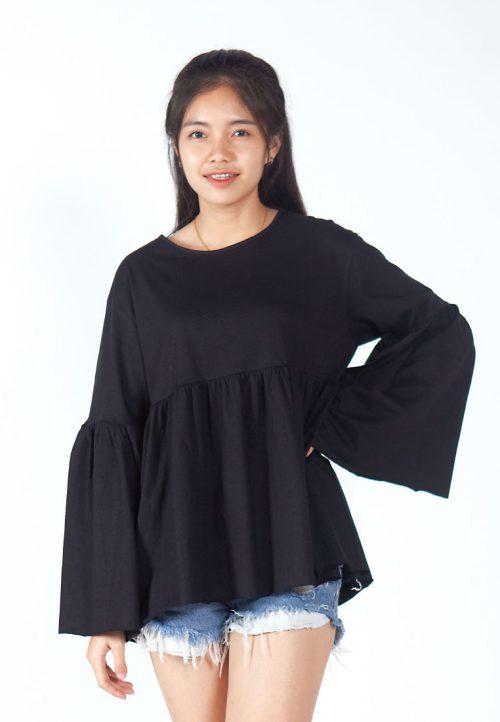 เสื้อเบลาส์ extended Long -Sleeves wide neck (ดำ)