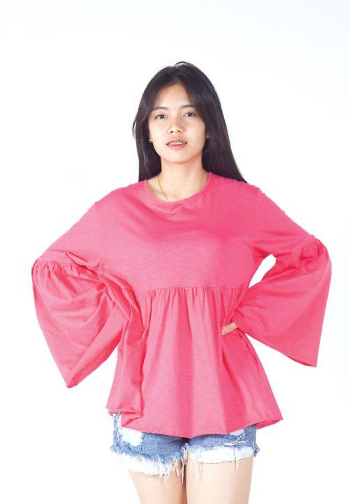 เสื้อเบลาส์ extended Long -Sleeves wide neck (ชมพู)