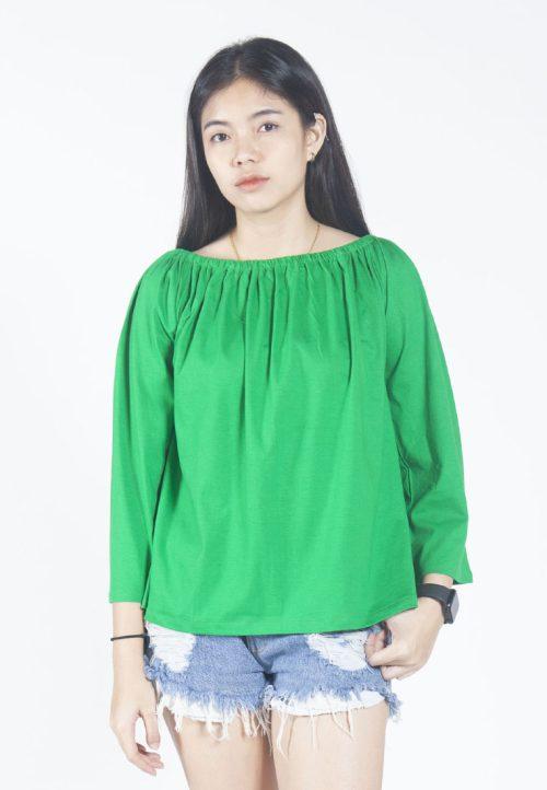 เสื้อเบลาส์ long-sleeves pleated scoop neck (เขียว)