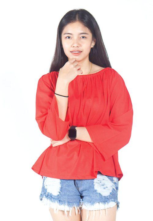 เสื้อเบลาส์ long-sleeves pleated scoop neck (แดง)